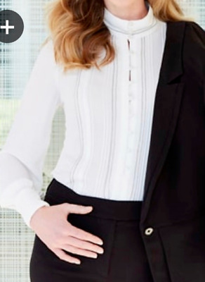 61f002eabf592a $99 White House Black Market PINTUCKED BUTTON FRONT BLOUSE SHIRT TOP 4 8 10  New