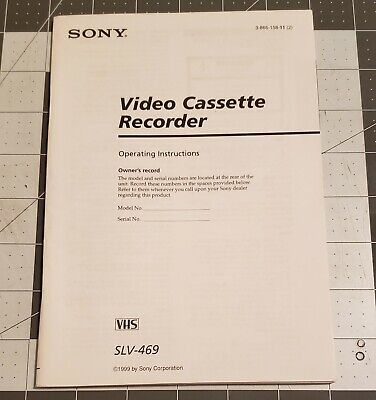 Sony Video Cassette Recorder VHS Owners Manual SLV-469 Instructions