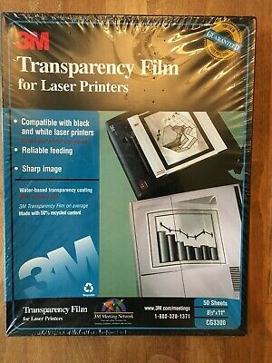 """3M CG3300 Transparency Film CG 3300 for Laser Printers 50 Sheets NEW 8.5"""" x 11"""""""