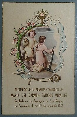 Estampa religiosa antigua RECUERDO COMUNION AÑO 1952 holy card