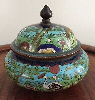 19th/20thc Chinese Cloisonne Lidded Jar Flowers Motifs  12cm tall