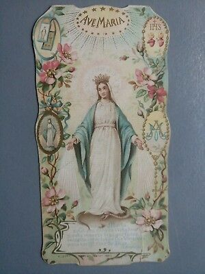 Estampa religiosa antigua VIRGEN MILAGROSA AVE MARIA holy card