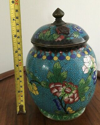 19th/20thc Chinese Cloisonne Lidded Jar Flowers Motifs  20cm tall