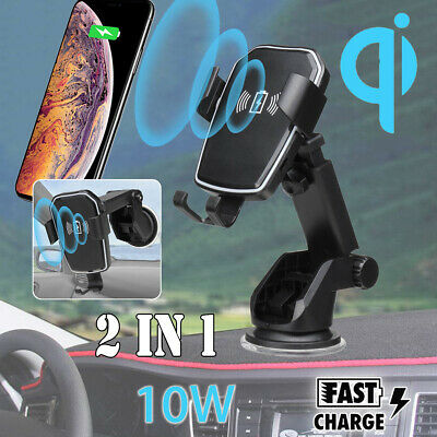 Wireless Fast Charger Dock Car Holder Mount For iPhone X XS MAX XR Samsung S10+