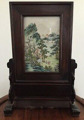 Antique Chinese Republic Period Polychrome Decorated Table Screens 38 cm High