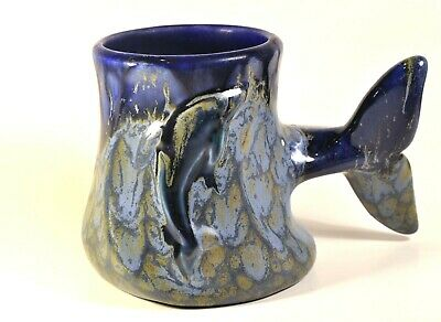 3D 11oz. Coffee Mug Cup Whale Tale Handle w/ Whale in Front Wall