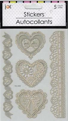 Lace-look Laser Cut (Self-stick) Hearts & Borders (5 total)