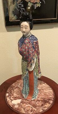 antique / vintage Chinese Famille Rose lady Figurine Statues Porcelain China