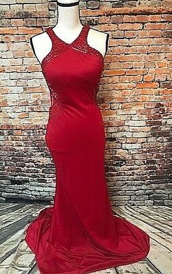 f4235bee9517 NEW XSCAPE WINE Red Stretch High Neck Halter Gown - $44.99 | PicClick