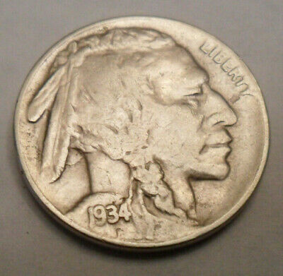 "1934 P Indian Head ""buffalo"" Nickel  Sds  **free Shipping**"