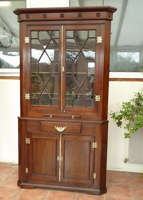 Large  Mahogany Astral Glazed  Corner Cupboard Circa  1760 Free Shipping England