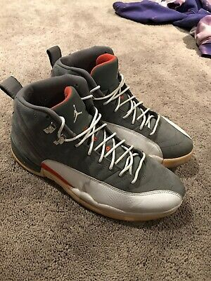 "bc0313a124be1d 2012 Nike Air Jordan 12 XII Retro ""Cool Grey"" Orange 130690 012 Size 10"