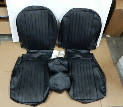 New Front Seat Covers Seat Upholstery MGB 1977-80 Black Vinyl + Headrest Covers