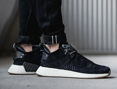 db235056a Adidas NMD C2 Suede Size 10.5 BY3011 Core Black Gum Shoes Sneakers NEW  NMD R1