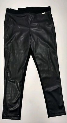 Calvin Klein Womens Large Faux Leather Front Ponte Back Leggings Pants