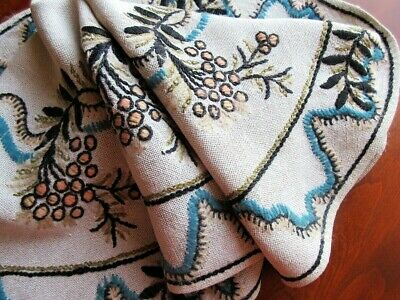 """Vintage 1940s Arts & Crafts Embroidered Linen Tablecloth -Sweden 26"""" Wool Yarn"""
