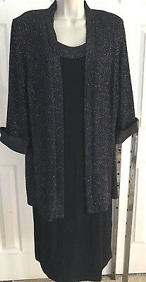RM Richards  dress n jacket set black glitter embelllished 14W