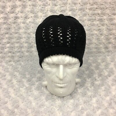 Target Mossimo Black Knitted Fall Autumn Winter Hat Beanie Skully Scalloped Edge