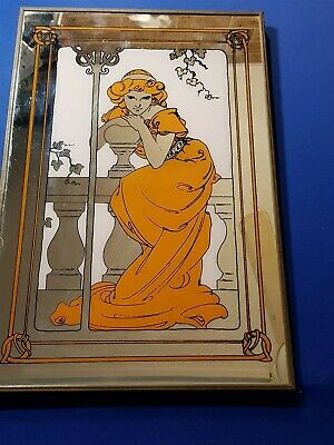 Vintage Retro Art Deco Style Wall Hanging Beautiful Lady Mirror Japan