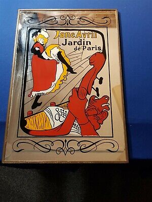 Vintage Retro Art Deco Style Wall Hanging Jane Avril Jardin de Paris Mirror Japa
