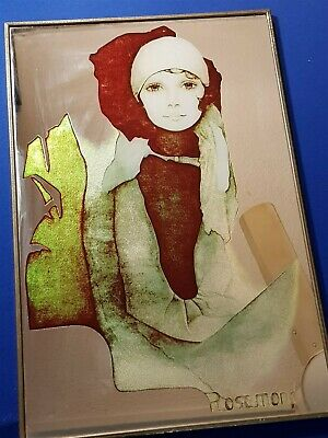 Vintage Retro Art Deco Style Wall Hanging Mirror Glamours Lady Japan