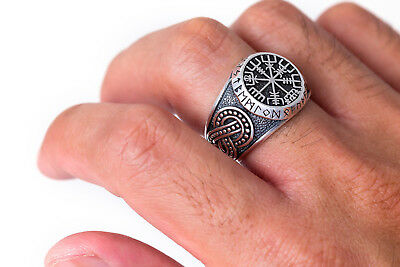 Viking Vegvisir Ancient Runes Norse Legendary New Ring 925 Sterling Silver