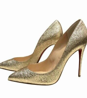 best service 1b35a b3814 WOMEN'S CHRISTIAN LOUBOUTIN Pigalle Follies 100mm Gold Pumps Us Size 10/EU  40