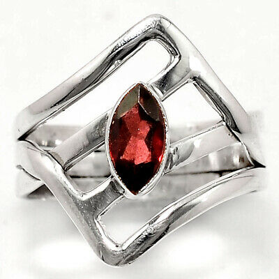 Hessonite Garnet 925 Sterling Silver Handmade Ring Jewelry s.7 SDR49220