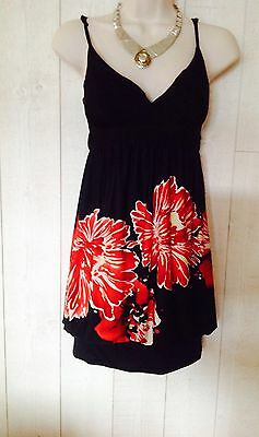 T 36 Grosses Rouges Noire Robe New Fleurs Look ybfgY76v