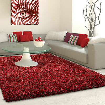5cm HIGH PILE SMALL EXTRA LARGE PREMIUM QUALITY NON SHED THICK SHAGGY RUG RED
