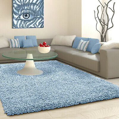 5cm HIGH PILE SMALL EXTRA LARGE PREMIUM QUALITY THICK SHAGGY RUG DUCK EGG BLUE