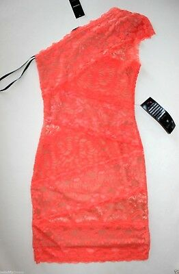 NWT Bebe coral pink lace dress one shoulder overlay mixed vegas top M Medium