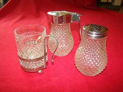 Vintage Art Deco style Clear Hobnail Glass with Chrome Jug, Sugar Sifter & Cup