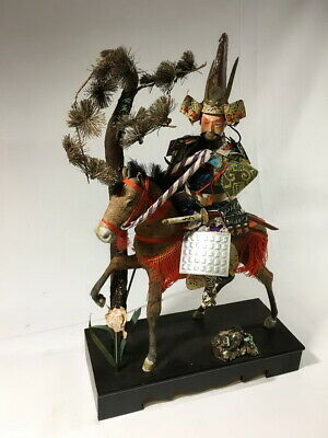 36cm Japanese Antique SAMURAI Armor YOROI Doll with Horse