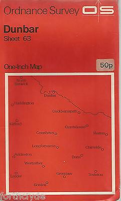 DUNBAR  - Sheet 63- ORDANCE SURVEY One Inch Fold Out Vintage Map B22