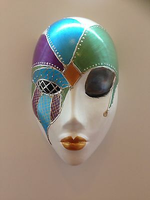 Hand cast wall hanging mask Jester Masquerade style, metallic colours