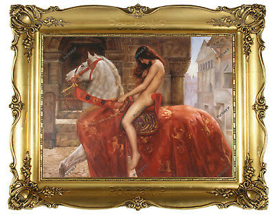 Old Master Art Antique Oil Painting Portrait Nude Lady Godiva on Horse 30x40