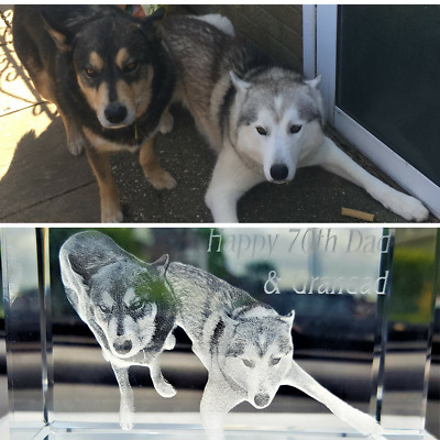 Personalised 3D Laser  Etched CRYSTAL GLASS BLOCK GIFT Size XL, FREE UK DELIVERY