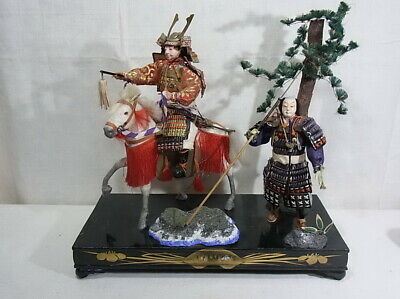 39cm Antique Doll SAMURAI Japanese Warrior MUSHA Armor Suit YOROI NINGYO Horse