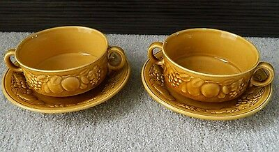 Royal Worcester Crown Ware, 2 x Soup Bowls/Dishes & Saucer/Side Plate, Mustard