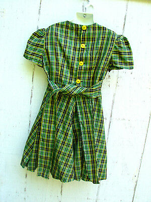 Vintage 40s 50s Girls Childs Dress Party Plaid Green Yellow Black BUTTONS 8 10