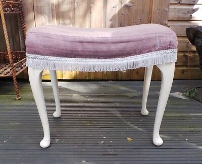 Sherborne Large Footstool Foot Rest Pink Fabric Queen Anne Legs Furniture Home
