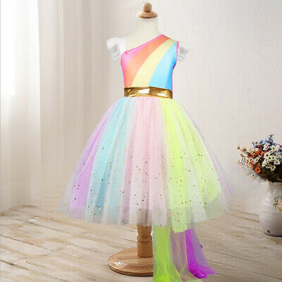 fb75decde9d Unicorn Tutu Girls Dress Summer Rainbow Fairy Princess Dresses Children  Clothing