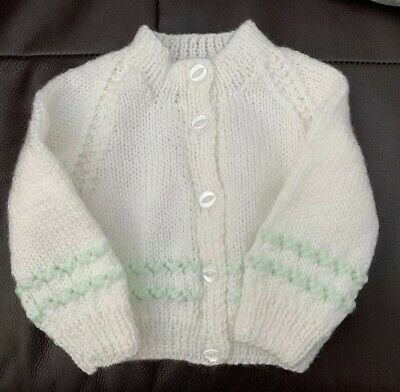 Hand Knitted baby cardigan In White & Mint Green 0-6 Months