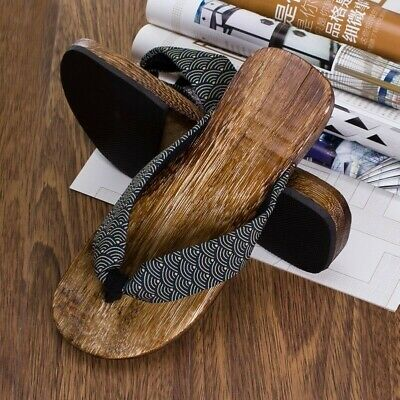 Mens Summer Japanese Geta Clogs Flip Flops Thong Sandals Wooden Slippers Shoes