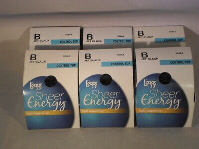 Lot Of 6 Leggs Pantyhose Sheer Energy  Size B Off Black                      SE2