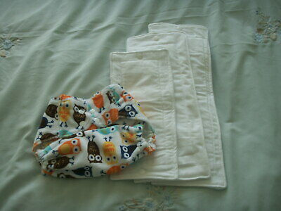 NEW Made in UK BTP Pul Kaufmans OWLS Minky Wrap Nappy Snap fasten 3 Zorb inserts
