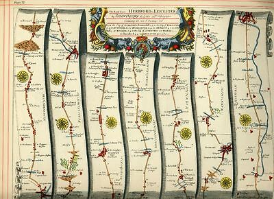 OGILBY Strip Map Hereford to Leicester, Gloucester to Montgomery