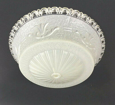 Art Deco Frosted White Glass Shade Ceiling Hanging Light Chandelier Fixture Lace