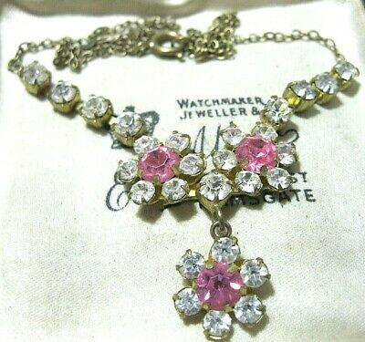 Vintage Antique Art Deco 1930's Pink Glass Crystal Rhinestone Drop NECKLACE